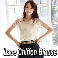 New 2014 Spring Summer Fashion Elegant Short Sleeve Women Chiffon Shirt Lace Top Beading Embroidery O-neck Blouse