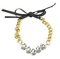 New Fashion Korean Style Fashion Gold Plated Alloy Double Ribbon Chain Clear Crystal Drop Choker Necklace 2pieces/lot