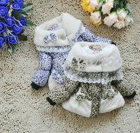 Free shippig 2013 girl coat new Bow floral thickening coat for girl ski jacket coat for children Warm coat