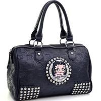 Brand Logo New Designer Inspired Women Genuine Leather Handbag Tote Bag Classic Betty Boop Satchel Bag with Rhinestone Stud