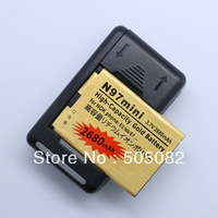 2680mAh new extended replacement gold high capacity BATTERY+Dock Charger for Nokia N97 mini/E5/E7/N8 BL-4D + free shipping