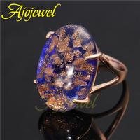 Size 7-9 Fashion Jewelry High Quality Beautiful 18KGP Big Dark Blue Stone Ring 2014