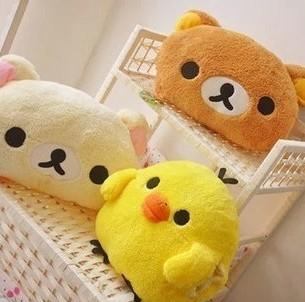 Winter thermal Rilakkuma bear, yellow chicken soft & stuffed plush toy hand warmer toys doll pillow cushion 30x25cm 1 piece(China (Mainland))