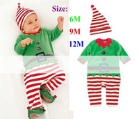 Retail 2013 New Christmas Costumes Stripes Baby Suits for Boys Outfits Kids Rompers Overalls with Hats Children's Clothing Set