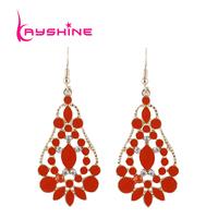 Bijoux Femme Earring Fashion Jewelry Bohemian Earrings Costumes Enamel Flower Blue Color Alloy Drop Earrings for Women