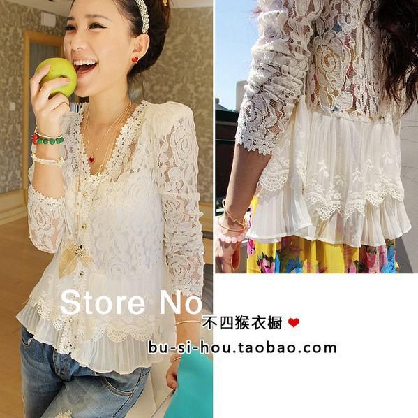 Lace Blusas Women Thin Shoulder Pads Hollow Lace Cardigan Jacket See Through Blouses Shirt 139(China (Mainland))