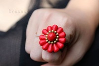 Free Shipping Wholesale Fashion2013 Rings Women for women Thai Style Turquoise Ethnic Ring Jewelry Turquoise retro copper bell