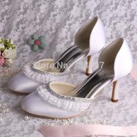 Free Ship 8cm High Heel Crystal  Round Toe Closed Toe Wedding Women Shoes Custom Handmade