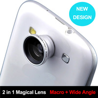 2 in 1 Magnetic Detachable Wide Angle + Macro Lens for Iphone 4 4s 5 HTC Nokia Samsung I9300 Note 2 S4 Accessories