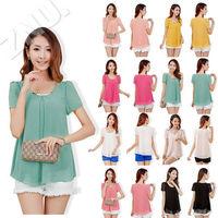 Womens Chiffon Shirt Top T-Shirt Blouses Lady Casual Shirts