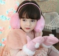 Free shipping 2pcs/bag Hot sale Children's plush rabbit fur earmuffs winter fashion cute earwarmers