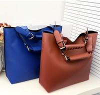 New European and American fashion shopping bags ladies handbags PU leather bucket shoulder bag Messenger bag free shipping