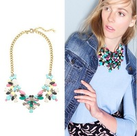 Free shipping fashion necklace for women jc statement necklace gold plated chain resin necklace technicolor floral necklace