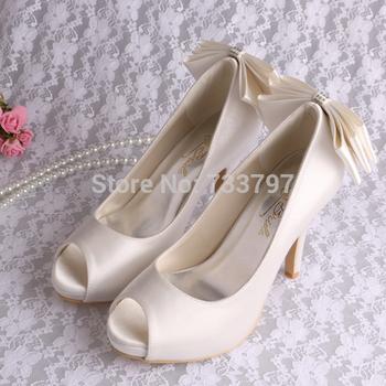 Free Ship Fashion Women Wedding Bridal Shoes Satin Rhinestone Fish Mouth 10CM White Platform High Heels Pumps