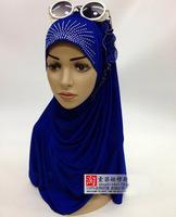 Hot-selling scarf fashion hijab  bandanas turban cross muslim cap headgear hijab multicolor