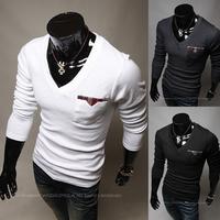 2013 New Arrival Men Spring Autumn Fashion Slim V-callor Faux Long Sleeve T Shirt Cotton Men's T-shirt