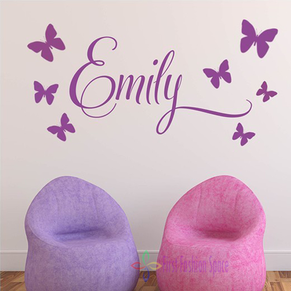 Free Shipping Personalised Princess 7Butterflies Name Baby Girl Wall Decal Nursery Vinyl Sticker Decor,Children Wall Art 30*60CM(China (Mainland))