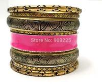Wholesale Vintage Indian Bangle Set. Fashion Bohemian Women Summer Bracelets & Bangles. Luxury Design Flower Leather Accessories