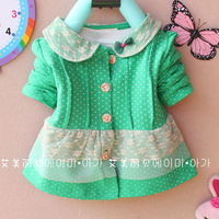 Retail New 2013 Children's Clothing Baby Girls Cute Thin Outerwear Fashion Lace Collar Design Full Buttons Girl's Cotton Coat
