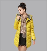 2013 Winter brand design quality 90% white duck warm women's jackets with hood,print pattern long sleeve canada coats