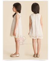 Retail 2014 New arrival girls summer  lace pearl collar sleeveless dress princess elegant dress summer clothing free shipping
