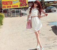 short-sleeve chiffon summer women's  loose button shirt knee-length dress 'casual cute novelty dress vestidos