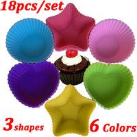 Wholesale Round/Heart/Star Shape Silicone Cake Mold/Cupcake FondantSoap Mold/Baking Mould /Silicone Bakeware 6 Colors 18 pcs/set