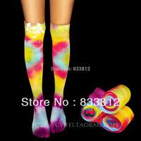 Hippie Skateboard Bohemian Reggae Tie-dyeing Hallucinogenic Iridescent Stocking long stocking clogs Two Toes