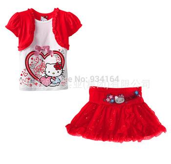 2014 Girls' Clothing Cartoon Hello Kitty Suits Short Sleeves T-shirt+ Flower Print Glitter Sequins Tutu Mini Skirt Set