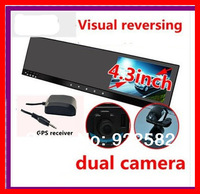 """4.3""""car rear view mirror DVR GPS dual camera front  back while recording+ 3axis G-sensor+Touch button+GPS TRACK+H.264  Recorder"""