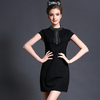 Free shipping summer 2014 new women high-end Forechest bowtie back bow fashion Temperament dress Plus Size S-XXXXXL
