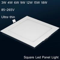 "Free shipping Square LED panel  light 2""3w  3""4w  3.5""6w  4""9w  5""12w  6""15w Ultra-thin ceiling panel light downlight"