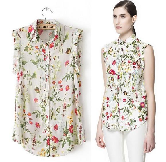 2014 Summer New Arrivals Women Sleeveless Turn Down Collar Flower