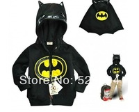 2014 boy Batman black hooded coat children outerwear boys zipper jacket kid's winter jacket