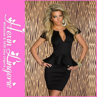 Free Shipping 2013 New Sexy Clubwear Women Mini Dress V-neck OL Lady Peplum Dress 5 colors Ruffled Slim Waist Short Sleeve 5163