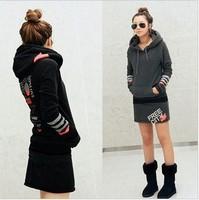 Fall Winter 2014 clothes for women designer korean fashion Plus size beaver plush hooded hoodies sweatshirt skirt set