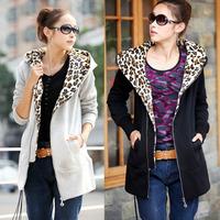 2014 Plus Size Slim Hooded Leopard Print Fleece Sweatshirt Long-Sleeve Solid Color Large Outerwear Winter Coat Free Shipping