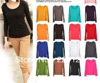 2013 autumn women's modal elastic slim long-sleeve basic shirt candy color basic t long-sleeve t