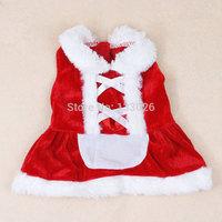 New design Christmas dog clothing cute santa dress pet cloth warm winter small medium dog cat Chihuahua Yorkshire Poodle