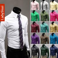 Hot selling! 2014 joker pure color long sleeve shirt, Slim fit men's t shirt, high quality men shirt size M~XXXL Free shipping