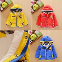 2013 New arrival children outerwear baby boys winter warm lambs wool hoodies cartoon outerwear cotton-padded jacket