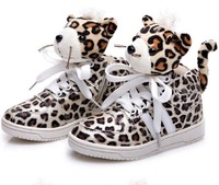 Free shipping new 2014 fashion kearon girls boys leopard print shoes male female small doll tiger skateboarding casual sneakers