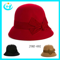 2013 high quality  Lady pure wool winter cap Homburg bowler hat  3 color basin cap lady cap with bowknot  free shipping
