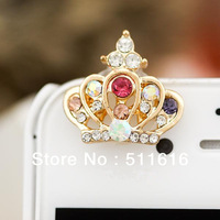 Free Shipping High Quality Diamond Crown Jewel Mobile Cell Phone Headphones Anti Dust Plug Earphone Jack Dust Cap For iPhone 5