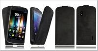 Handmade Genuine Real 100% Leather Flip Case Cover for Google LG NEXUS 4 Black for nexus 4 case