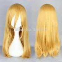 Free Shipping Cheap 55cm Medium Straight Light Yellow Attack on Titan Krista Lenz Cosplay Wig
