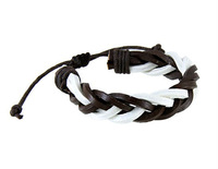 Free Shipping White and Brown PU Leather Bracelet  LHPM-29D