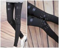 2013 Women Punk Knee Rivet pants Studs Spike Faux Leather Patch Leggings Legwear fashion skiinny leggings for women