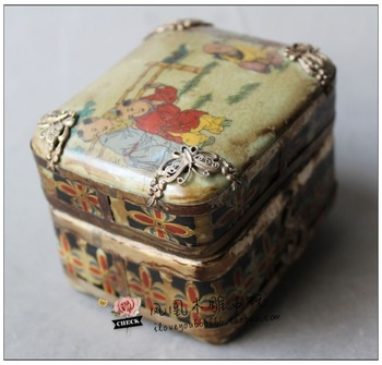 Chinese old oriental vintage hand work  porcelain jewelry box armored butterfly phoenix--