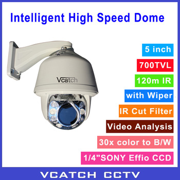 Hot ! Newly R&D Wiper Function 5inch 120m IR Intelligent Video Analysis High Speed Dome PTZ Camera with China 30x 700TVL Module